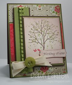 Stamps: Branch Out, Trendy Trees; Cardstock: Choc Chip, Pear Pizzazz, Vanilla, Everyday Enchantment DSP; Inks: Choc Chip, Pear Pizzazz, Ruby Red; Accessories: Sponges, Pear Pizzazz Ribbon, Embossing Folder, Button, Linen Thread, Twill, Modern Label Punch, Dimensionals