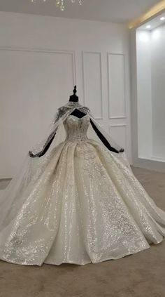 Strapless appliques shiny Wedding gown with long cape. Processing time 30 business days after payment . wedding videos Strapless appliques shiny Wedding gown with long cape Princess Wedding Dresses, Dream Wedding Dresses, Wedding Gowns, Wedding Gown Ballgown, Queen Wedding Dress, Princess Ball Gowns, Wedding Parties, Ball Gown Dresses, Bridal Dresses