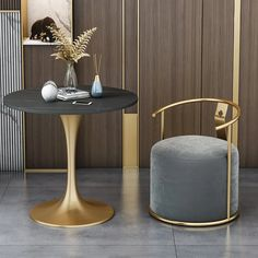Gray Upholstered Velvet Accent Chair Modern Round Accent Chair in Gold