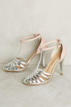 Raphaella Booz Dusk T-Strap Heels Silver Heels