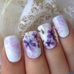 #nailart purple flowers #nails