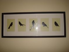 inspired by things i've seen on pinterist, i took 5 of the bird decals from my tree, placed them on pretty scrapbook paper and framed in an old matted pottery barn frame i had. so it was virtually free! love it. it greets me every morning outside my bedroom Scrapbook Paper, Pottery Barn, Decals, Birds, Paintings, Inspired, Bedroom, Frame, Pretty