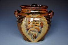 Burnt Umber Pottery Jar Ceramic Lidded Container E