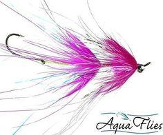 Stu's Rhea Intruder Steelhead Fly Fuschia/White Aqua Flies 3 Flies Free Shipping