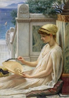 On the Terrace. Sir Edward John POYNTER, 1st Baronet (1836 – 1919) was an English painter, designer, and draughtsman who served as President of the Royal Academy. . In 1853 he met Frederick Leighton in Rome, who made a great impression on the 17-year-old Poynter. On his return to London he studied at Leigh's academy.