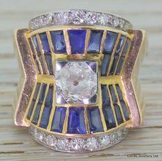 "Art Deco Old Cut Diamond & Sapphire ""Egyptian Revival"" Ring, French, circa 1925"
