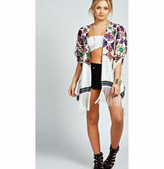 boohoo Paige Aztec Print Satin Fringed Kimono - white Outerwear gets oriental with the kitsch kimono . This folk-inspired fashion piece, with arty aztec and edgy ethnic prints, livens up a little black dress and makes day wear directional. Team with a ta http://www.comparestoreprices.co.uk/womens-clothes/boohoo-paige-aztec-print-satin-fringed-kimono--white.asp