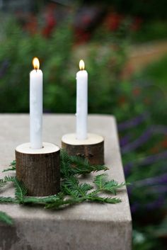 natural candleholders