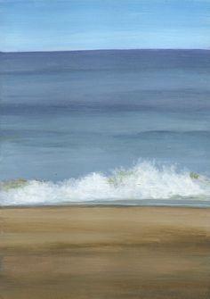 Original Landscape Painting Small Acrylic Seascape by ShirleyArt, $95.00