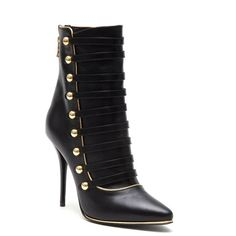 BALMAIN 'ALIENOR' LEATHER ANKLE BOOTS featuring polyvore, women's fashion, shoes, boots, ankle booties, balmain booties, leather boots, leather ankle bootie, ankle boots and balmain boots