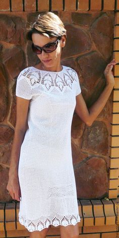 Buy The two-sided crocheted lace сotton dress Koketka, handmade