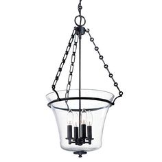 Eaton Polished Nickel 28-Inch Four-Light Pendant - (In Polished Nickel)