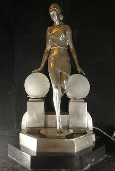 Art deco silver bronze figurine lamp light signed Fayral