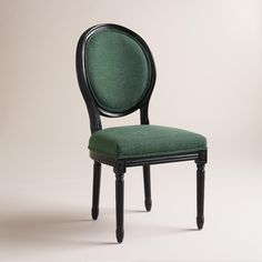 Green Linen Paige Round-Back Black Frame Chairs, Set of 2 | World Market