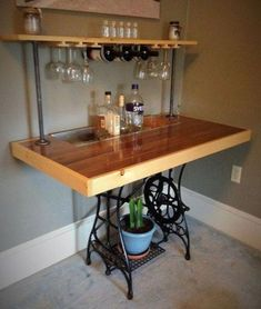 Sewing Machine Repurposed Sewing Table Bar by BillyGoatFurniture on Etsy - Antique Sewing Machine Table, Old Sewing Tables, Vintage Sewing Table, Singer Table, Singer Sewing Tables, Sewing Machine Projects, Antique Sewing Machines, Mesa Singer, Bar Furniture