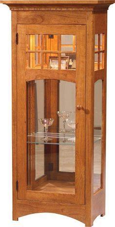 Amish Small Sliding Door Curio Cabinet | Sliding doors, Amish and ...