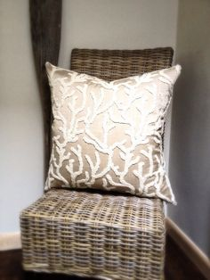 Beige with Creme Embroidered Coral 24x24 inch by ahouseoncapecod