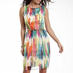 Sleeveless Printed Chiffon Dress with Belt Love Fashion, Fashion Outfits, Fashion Design, Fall Fashion, Watercolor Dress, Cute Dresses, Summer Dresses, Rainbow Outfit, Chiffon Dress