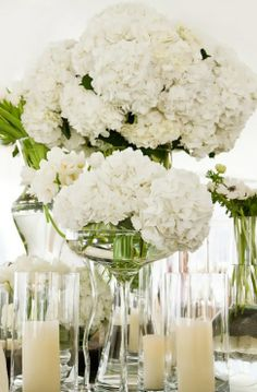 Inspired by This Classic White, Mint and Peach Florida Beach Wedding (decor, floral, miscellaneous, candles, lace, centerpieces, flowers, reception, table, white, Rosemary Beach) - Loverly