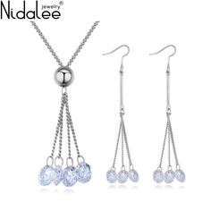 Find More Jewelry Sets Information about Nidalee Brand 2017 Fashion Made With Czech Crystal Zircon Tassel Pendant Necklace Dangle Earrings For Women Wedding Jewelry Sets,High Quality jewelry sets for women,China earrings set for women Suppliers, Cheap jewelry set for wedding from Nidalee Official Store on Aliexpress.com