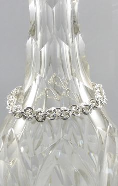 bf01c082b4d73 Items similar to Mobius Ball Weave Sterling Silver Chainmail Bracelet on  Etsy