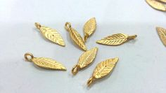 30 Pcs Gold Plated Brass Leaf CharmsPendantFindings by AZsupplies, $9.75