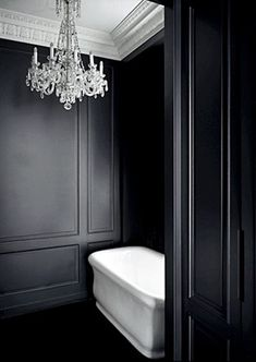black, bathroom, chandelier