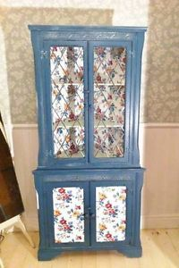 Floral shabby chic display cabinet.  Reclaimed furniture