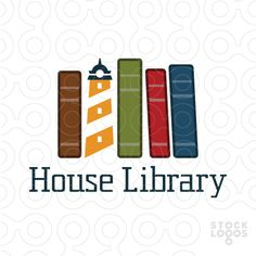 This logo design of light house in the middle of the books in a very attractive style, simple and professional design with earth tone colors like dark blue, red, green, brown, orange and grey.