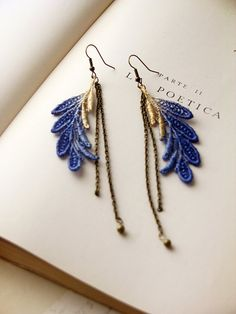 a duo of delicate cobalt dip-dyed leaves are hand painted with tinges of metallic gold and hung with antiqued brass chains.  >> lace measures 2 3/4 inches long  >> lace width at widest point is 7/8 inches