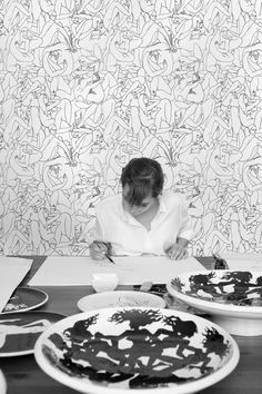 """""""Le couple"""" wallcovering –  Louise Bourgoin collection for Pierre Frey.   Passionate about drawing, the actress Louise Bourgoin introduced her drawings to Patrick Frey of the Maison Pierre Frey. He was immediately taken by the fluid, unapologetic lines of her pen and ink drawings and offered to feature them in a collection for the Maison Pierre Frey.  Pierre Frey LE COUPLE FP370  wallpaper is sold by the meter (1.09 yard) and is 135cm (53.14"""") wide, Repeat 51cm (20.07"""")"""
