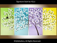 Large Acrylic Painting canvas art  Palette Knife Tree Flowers Love Birds Wall hanging-Blossoming Romance