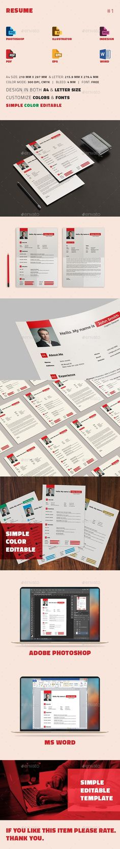 Cv Word  Ai Illustrator Cv Template And Modern Resume