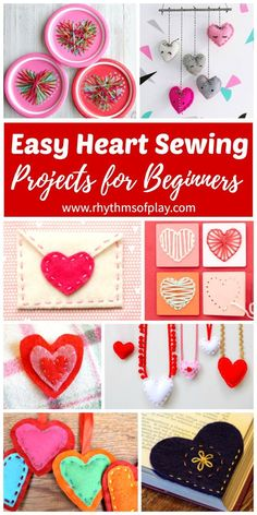These easy heart sewing projects for beginners are great for teaching kids how to hand sew. Children can learn how to sew using any one of these simple DIY sewing tutorials. Any of these homemade craft ideas would make a perfect gift idea for Valentine's Day and are great for year round sewing practice for homeschooling and after school fun. These handmade hearts would also be perfect for Mother's Day!
