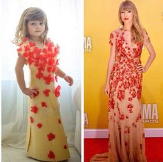 This cutie and her momma made paper dresses of designer gowns. Love it!!!!