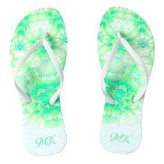 #ad Blue Green, Flip Flops, Monogram, Slip On, Sandals, Abstract, Pattern, Prints, Color