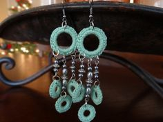 Crocheted+Mint+Green+Dangle+Earrings+with+by+LotsofKnotsDesigns