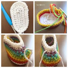 Crochet Rainbow Baby Booties made with Clover Amour Crochet Hooks - Repeat Crafter Me
