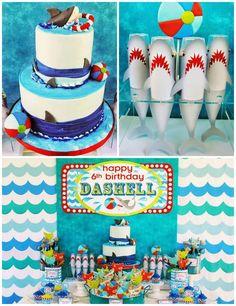 Wet n Wild Shark themed birthday party via Kara's Party Ideas KarasPartyIdeas.com Cake, printables, invitation, favors, cupcakes, supplies, and more! #sharkparty #sharkcake (2)