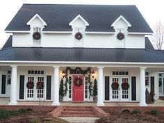 """Our Southern """"Country"""" Home and Farm White Exterior Houses, House Paint Exterior, White Houses, Modern Farmhouse Design, Modern Farmhouse Exterior, Farmhouse Front, Southern Country Homes, Nantucket Cottage, Porch Steps"""
