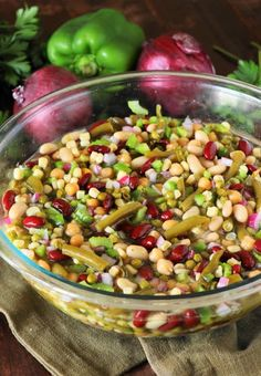 Easy Marinated Many Bean Salad ~ a great classic salad for the family or for serving a crowd! Perfect for cookouts, potlucks, or as an everyday side. Many-Bean Salad is one of those classic recipes Cold Side Dishes, Cookout Side Dishes, Veggie Side Dishes, Bean Salad Recipes, Salad Dressing Recipes, Marinated Vegetable Salads, Three Bean Salad, Salads For A Crowd, Classic Salad