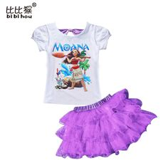 2017 moana clothes cartoon girls Clothes Set Baby Clothes Suit Toddler Clothing set T-shirt + Pants fancy summer girls clothes #Affiliate