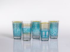 Casablanca Assorted Glass Tealight Holders/Blue - Set of 6 - DESIGN & BOARD, INC.