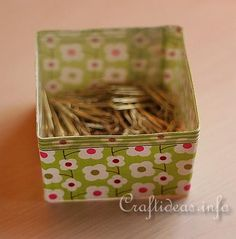 fabric & ribbon turn an empty plastic box or jar into a cute storage container