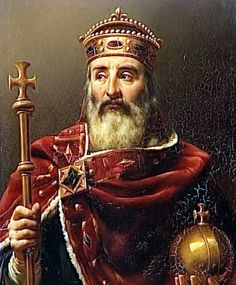 "Charlemagne (747–814), (or ""Charles the Great"") king of the Franks, the Lombards, and emperor of the Romans, began as a warrior king seeking to conquer territory and distribute plunder in the Frankish tradition."