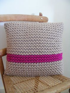 Hand knitted cushion cover with cushion inner 14X14 by WILJEN, £40.00