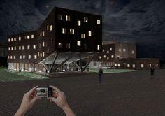 """""""Amplector"""",  project for multi-purpose building - progetto per un edificio polivalente - render night"""