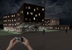 """Amplector"",  project for multi-purpose building - progetto per un edificio polivalente - render night"