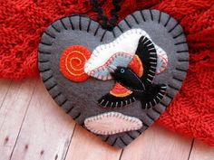 Red-Winged Blackbird Ornament by SandhraLee on Etsy
