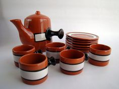 Vintage Southwestern Clay Teapot and Five Cups and Saucers  by TheArmchairAntiquer, $28.00 USD